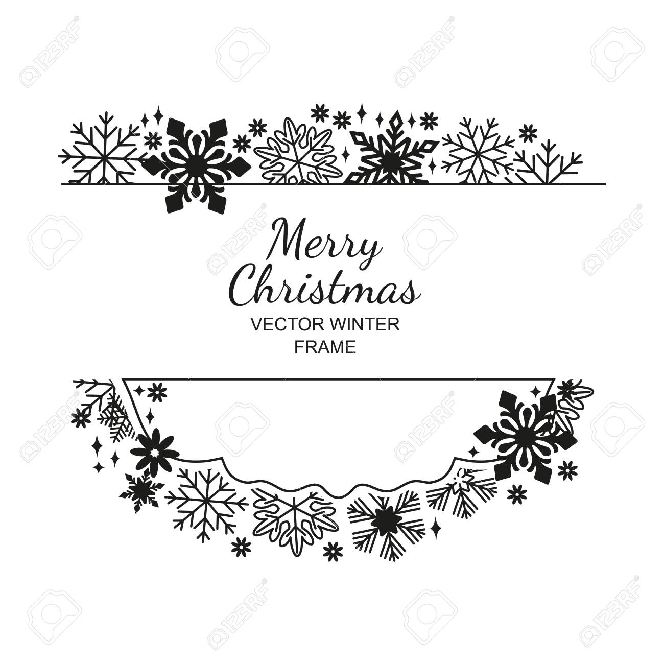 Merry Christmas Images Black And White.Black White Snowflake Frame Decoration On White Background