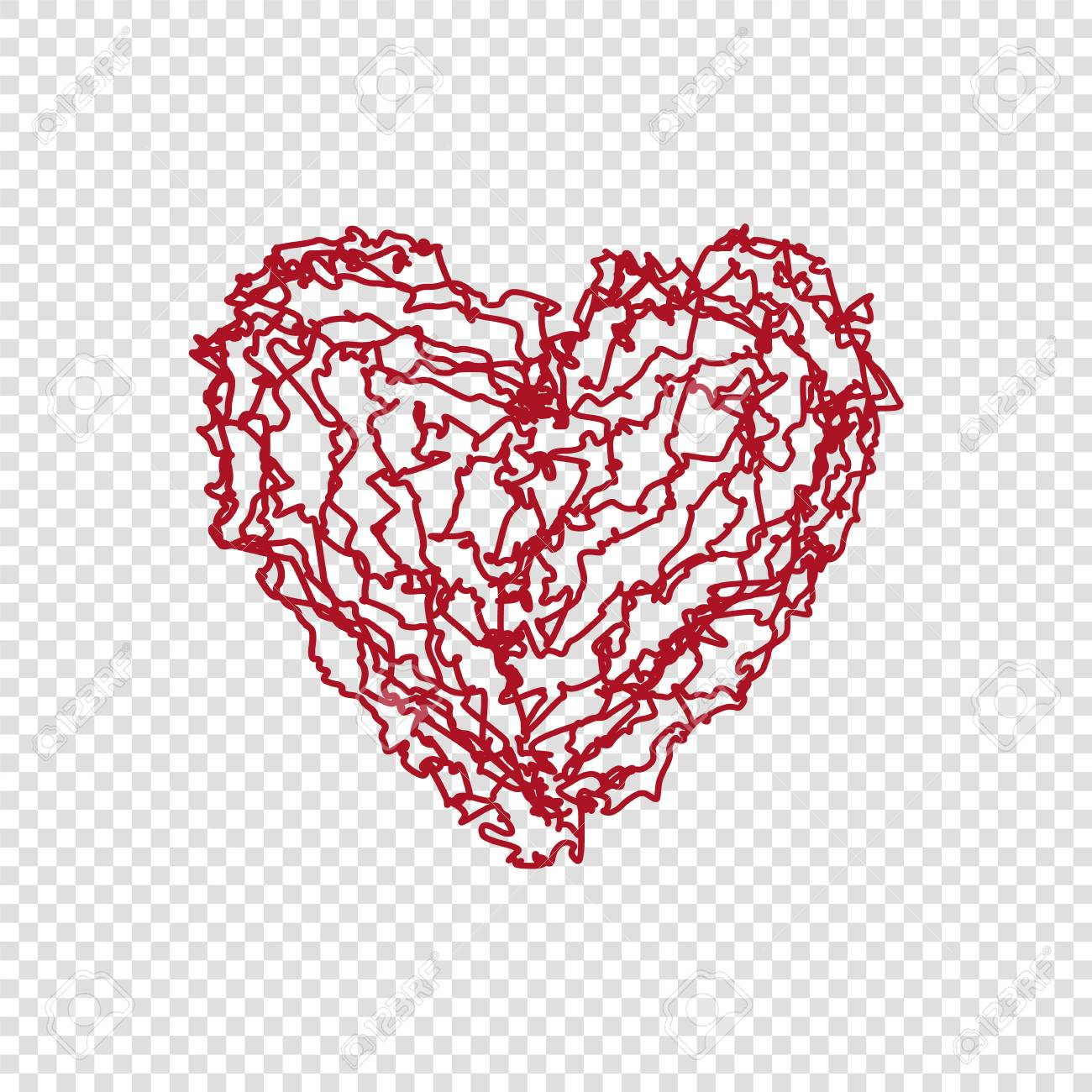 Hand Drawn Doodle Heart On Transparent Background Happy Valentines