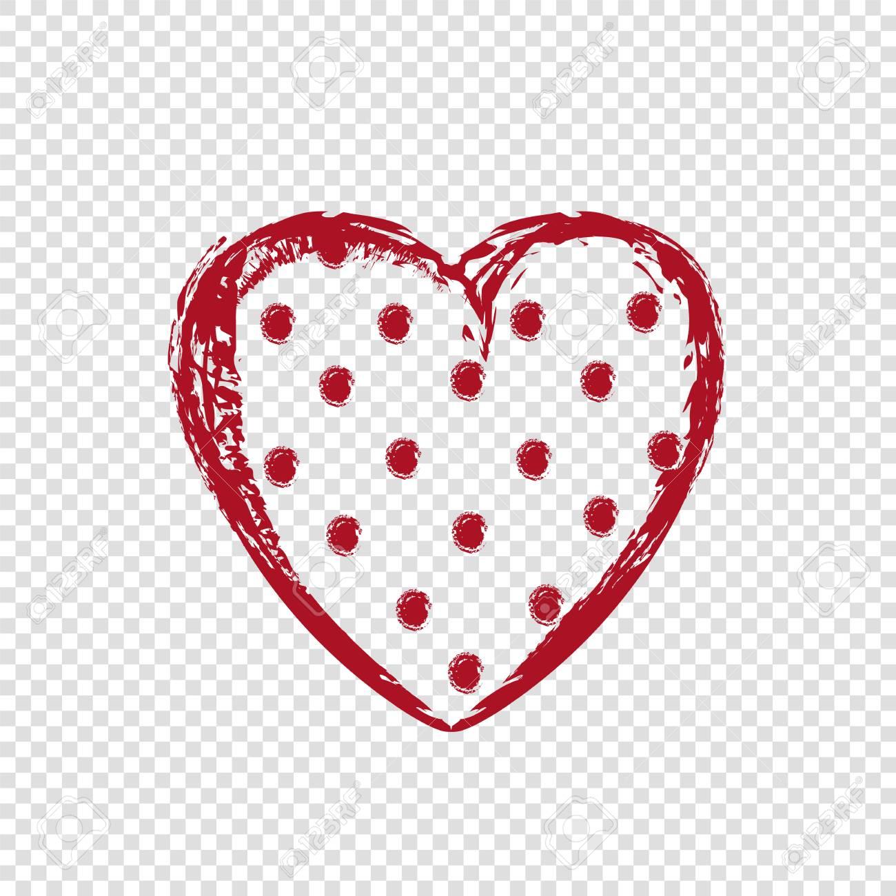 Hand Drawn Polka Dot Heart On Transparent Background Happy