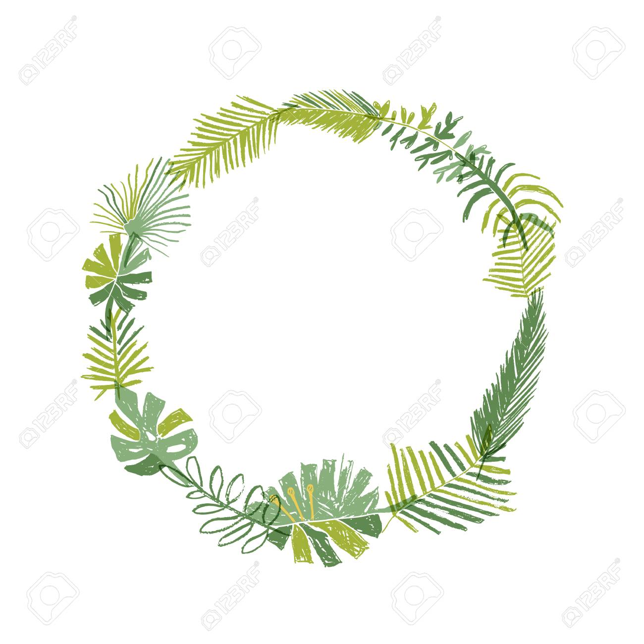 Christmas Greenery Vector.Tropical Flower Composition Hand Drawn Circle Greenery Botanical