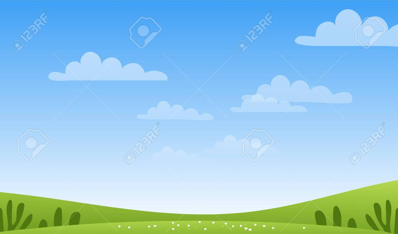 Sunny spring or summer landscape, meadows, sky with clouds, place for text. Green farm banner, concept of caring for nature and ecology. Flat cartoon vector illustration with copyspace - 145224101