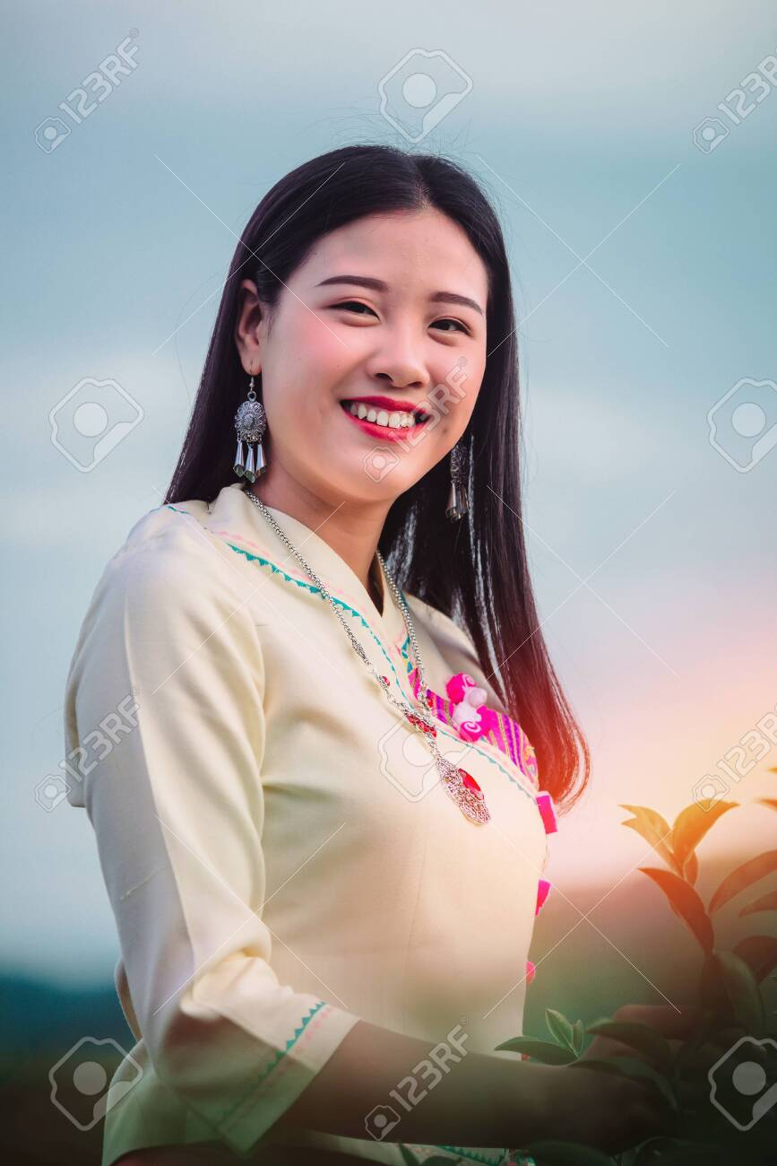 Women And Friend In Tea Farm Chiang Rai Thailand Asia Stock Photo Picture And Royalty Free Image Image 132276787