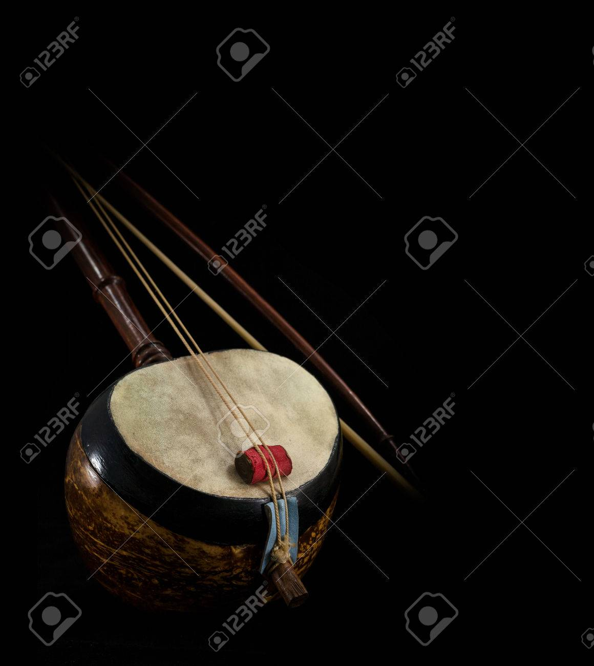 A part of Saw, Thai fiddle bass sounded string music instrument