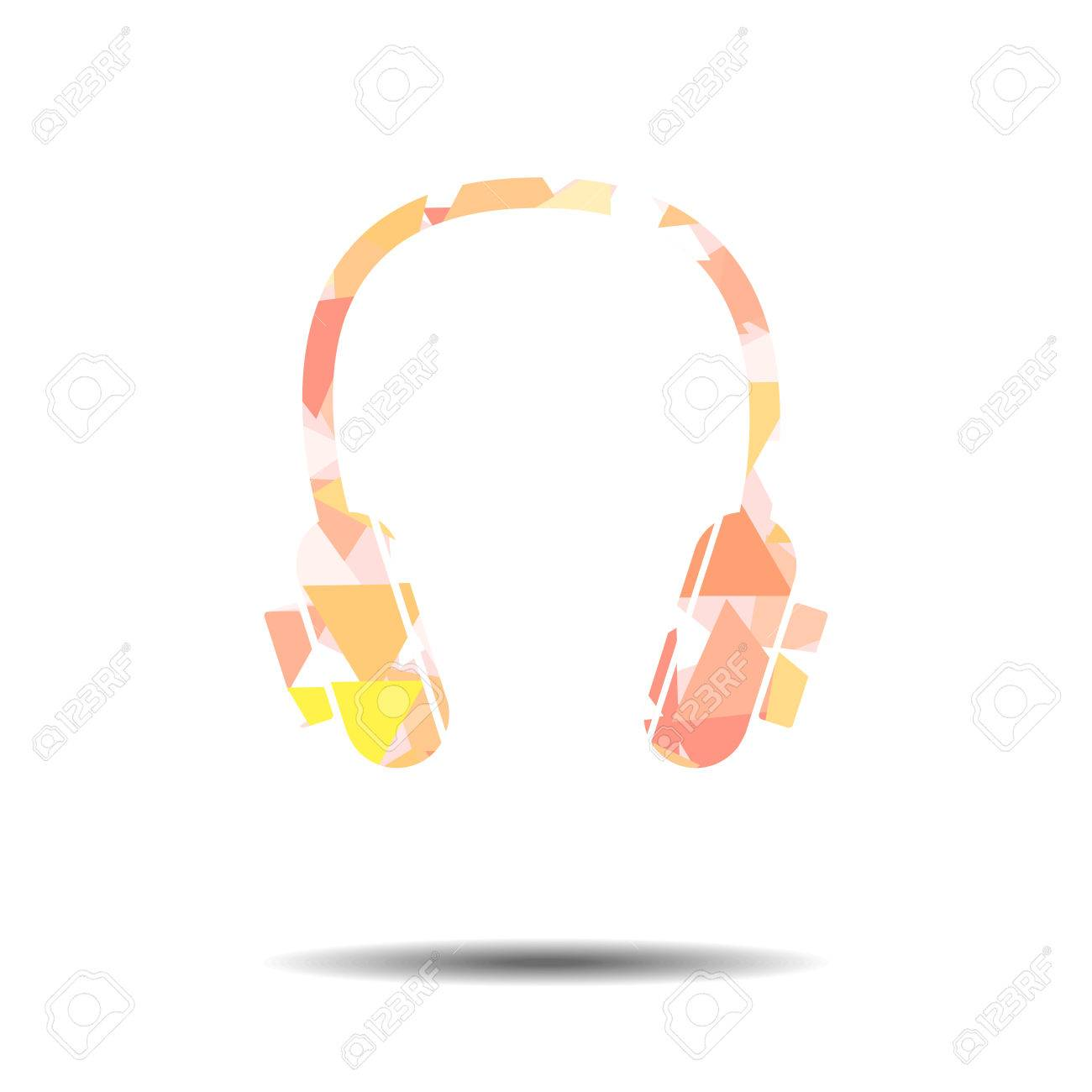 vector : headphone in abstract triangle vintage background royalty