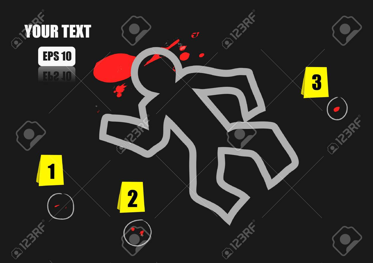 Vector Chalk Outline Of Dead Body And Blood On A Road Royalty Free