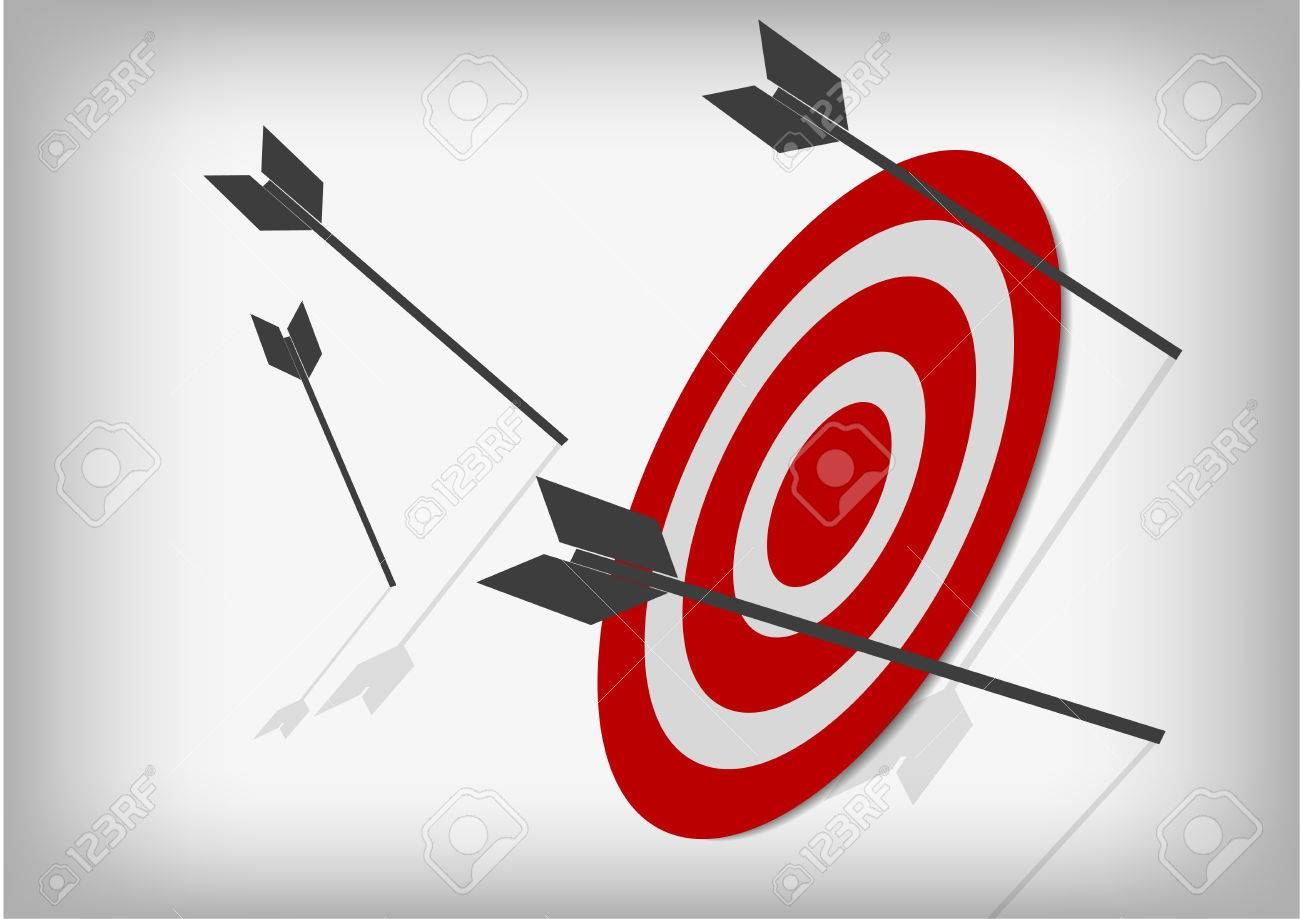 Vector : Archery targets and missed arrows on gray background - 74141975