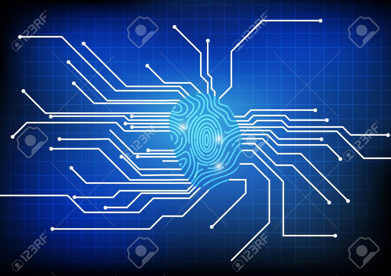 Vector : Finger Print With Electronic Circuit Background Royalty ...