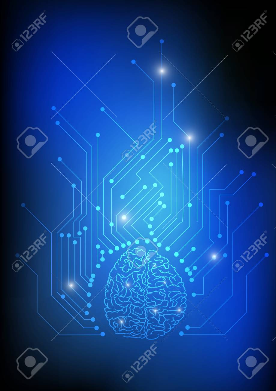 Vector : Brain and electronic circuit on blue background - 126513384