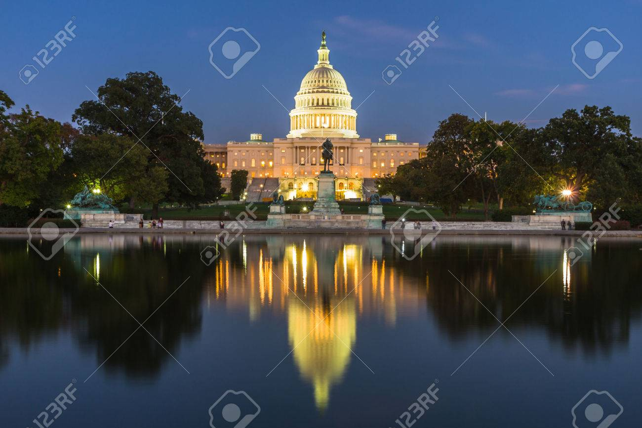 This photo was shot from the US Capital building in Washington DC, USA in the evening after sunset. - 39932193