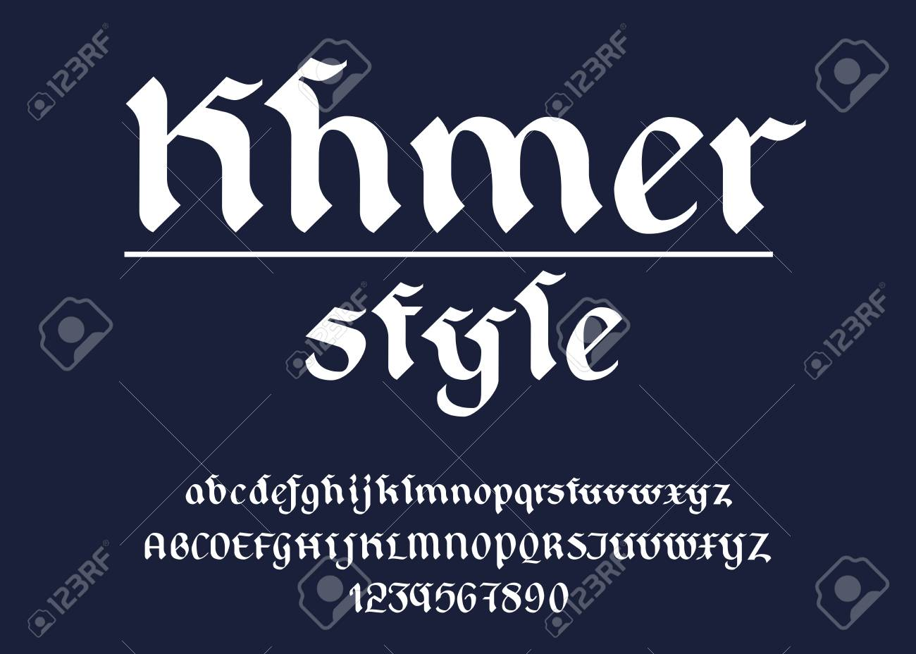 Typeface Latin Khmer style A-Z uppercase, lowercase and number