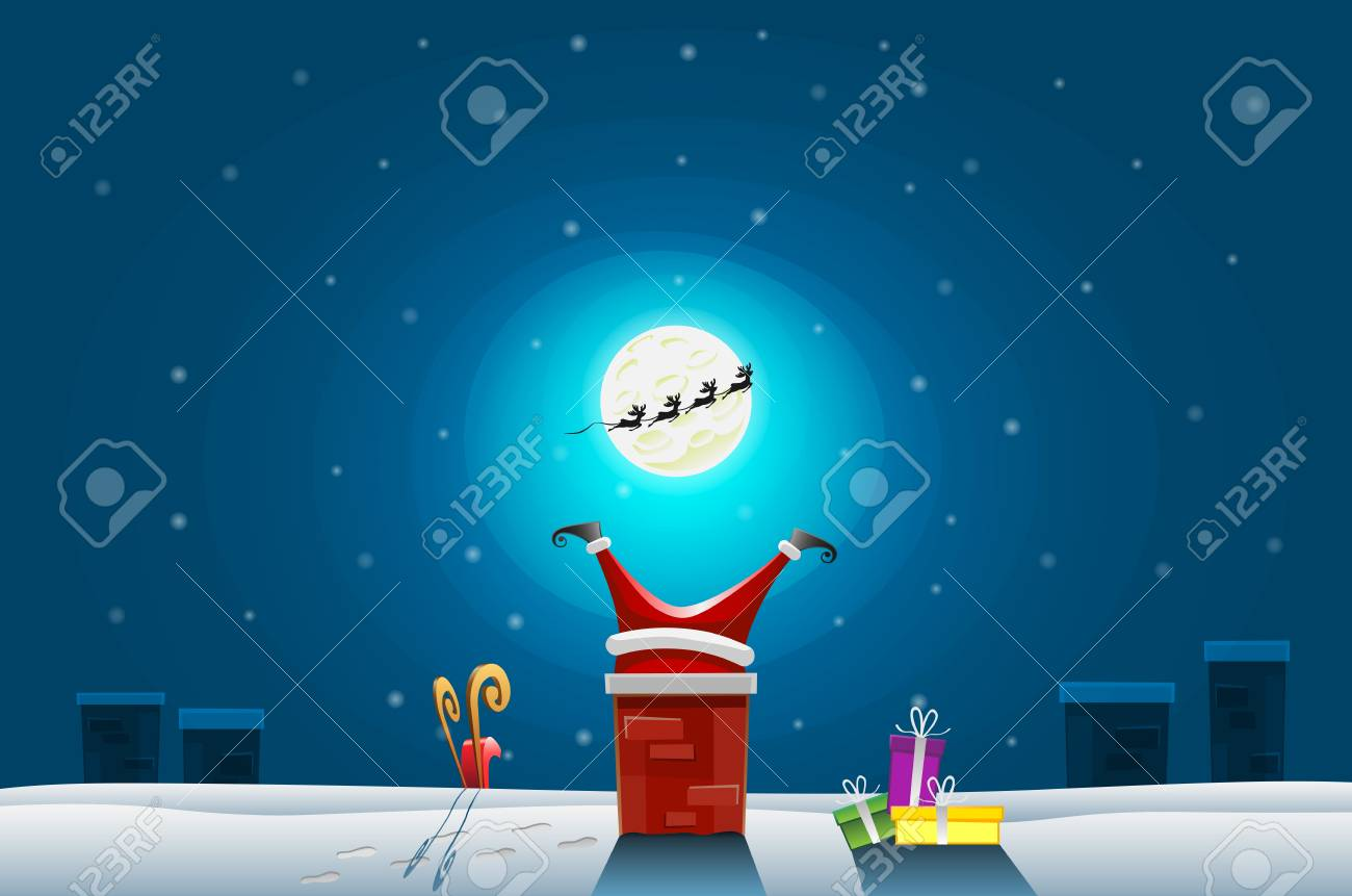 Funny card - Merry Christmas and Happy New Year, Santa Claus stuck in the Chimney on roof - 107787679