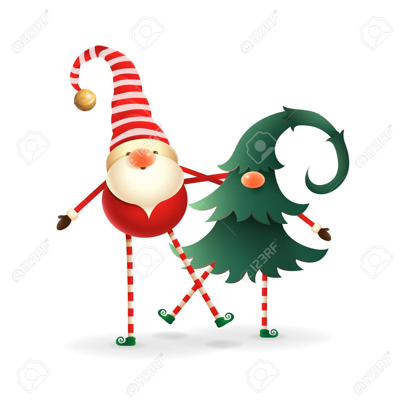 Christmas Gnomes.Christmas Gnomes Cute Happy Two Friends One Hidden In Christmas