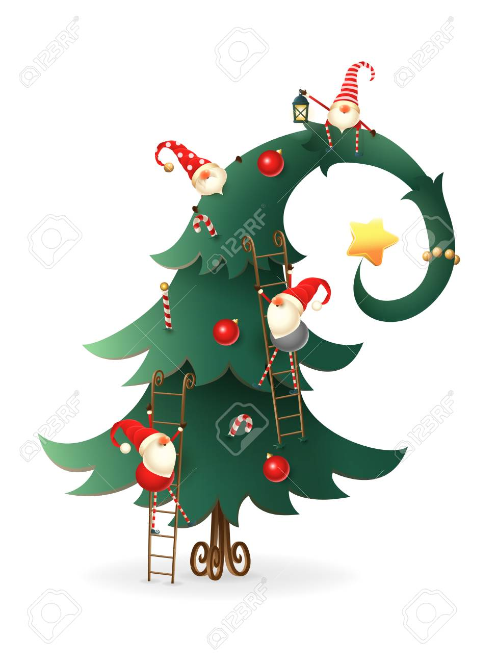 Christmas Tree Decorated With Scandinavian Gnomes Who Climb All Royalty Free Cliparts Vectors And Stock Illustration Image 110277613