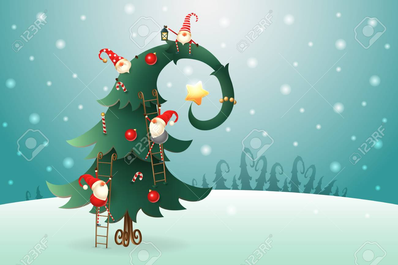 Christmas Tree Decorated With Scandinavian Gnomes Who Climb All Royalty Free Cliparts Vectors And Stock Illustration Image 110277614