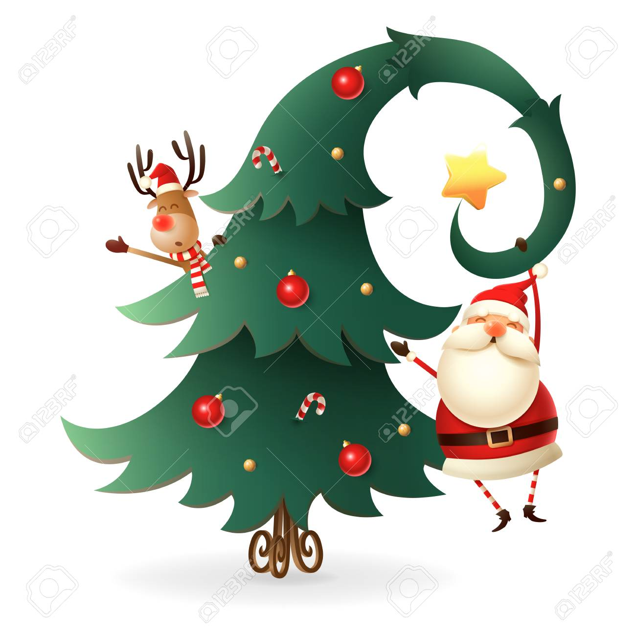 Christmas Graphics Transparent.Santa Claus And Reindeer Around The Christmas Tree On Transparent