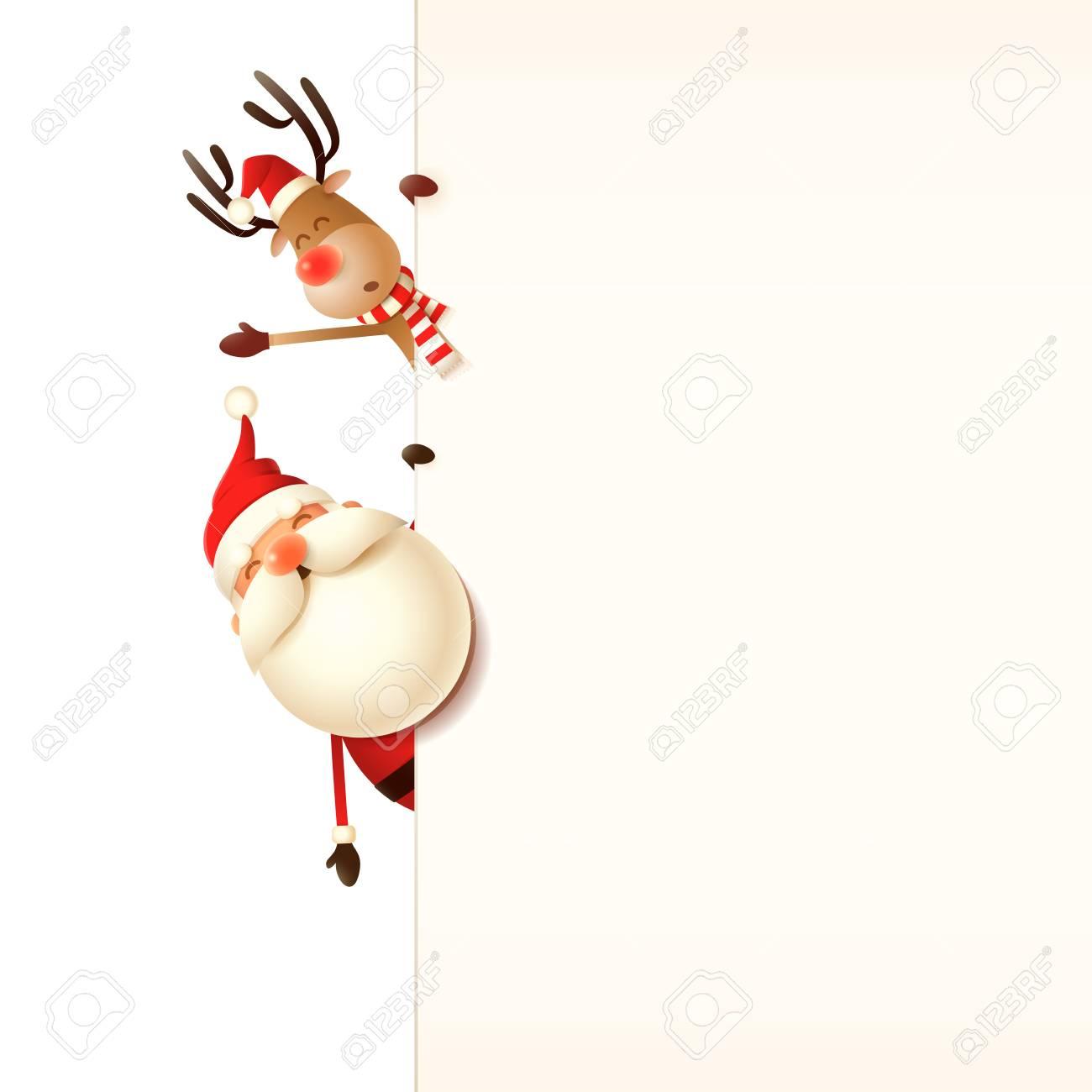 Christmas Greeting Card Template Santa Claus And Reindeer Peeking