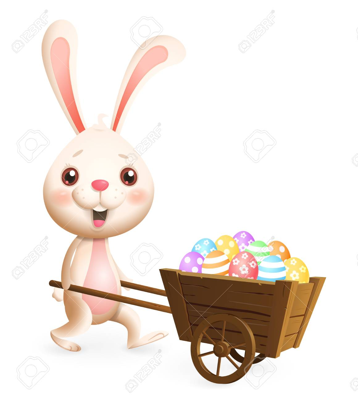 Easter bunny carrying cart with colorful decorated Easter eggs - isolated on white background - 117031329