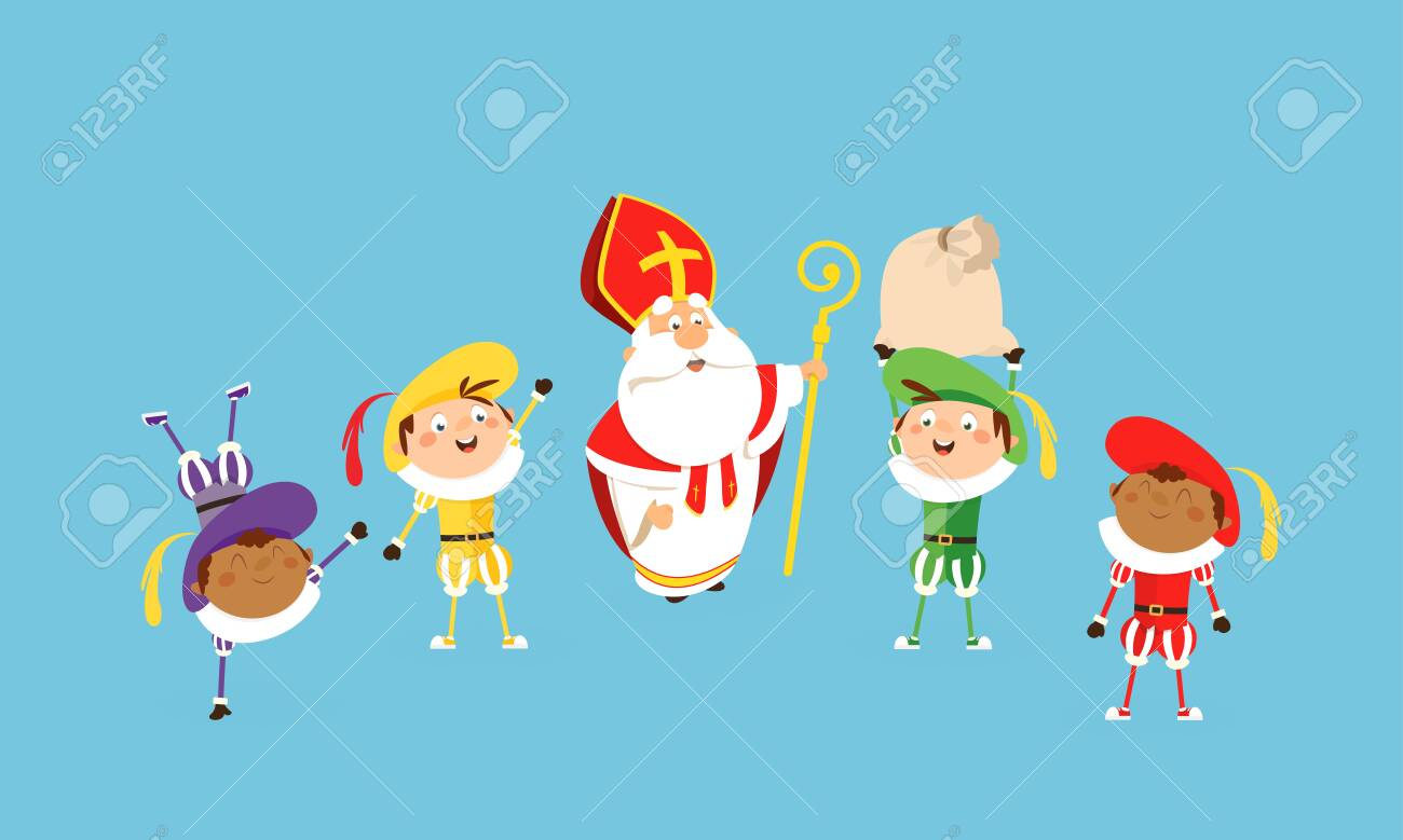 Saint nicholas and helpers celebrate and having fun - vector illustration cartoon style - 122398517