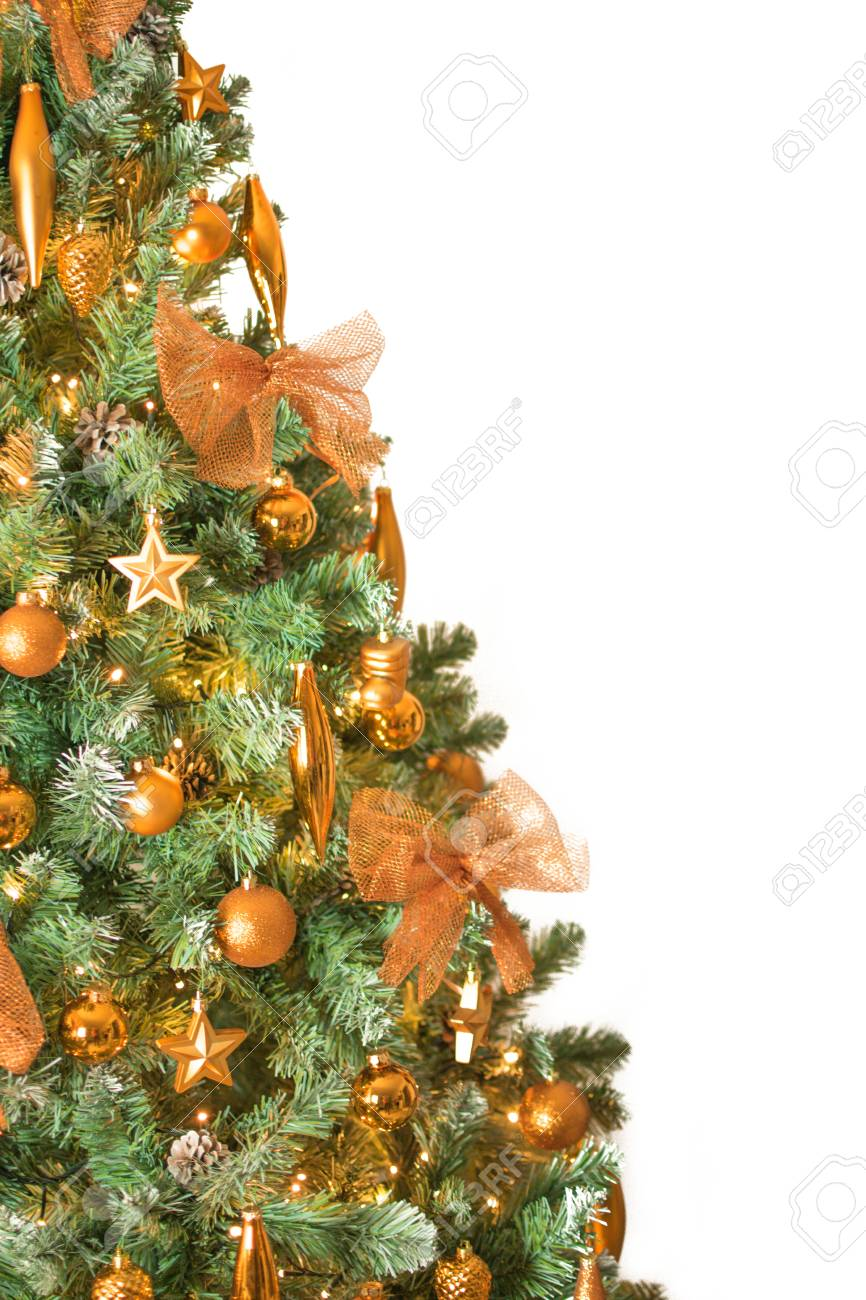Modern Christmas Trees.Close Up Of Modern Christmas Tree Decorated With Bronze Color