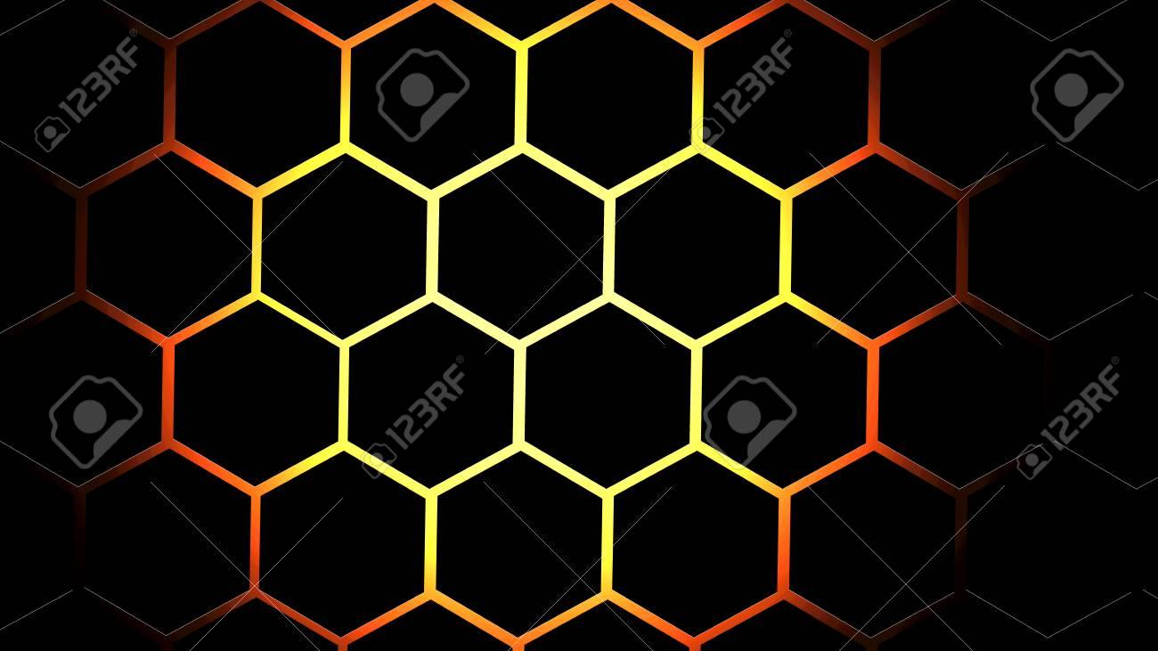 Beehive Black Honeycomb Red Hexagon Fire Brick Pattern Wallpaper