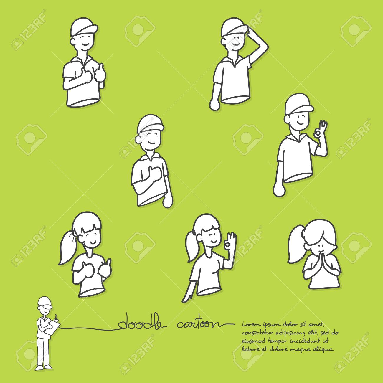 cartoon doodle show gestures appreciate and thank,colour background,vector