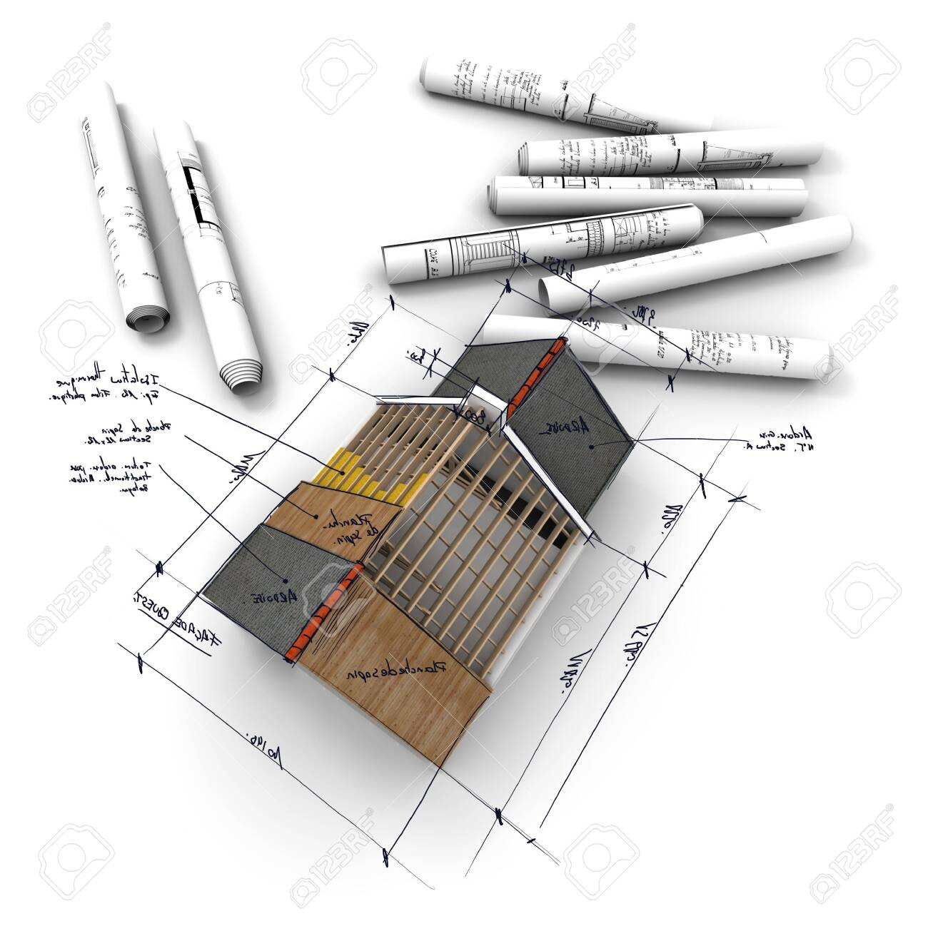 Modeling a home building roof roof drawing the layout of the house view from above. - 129914506
