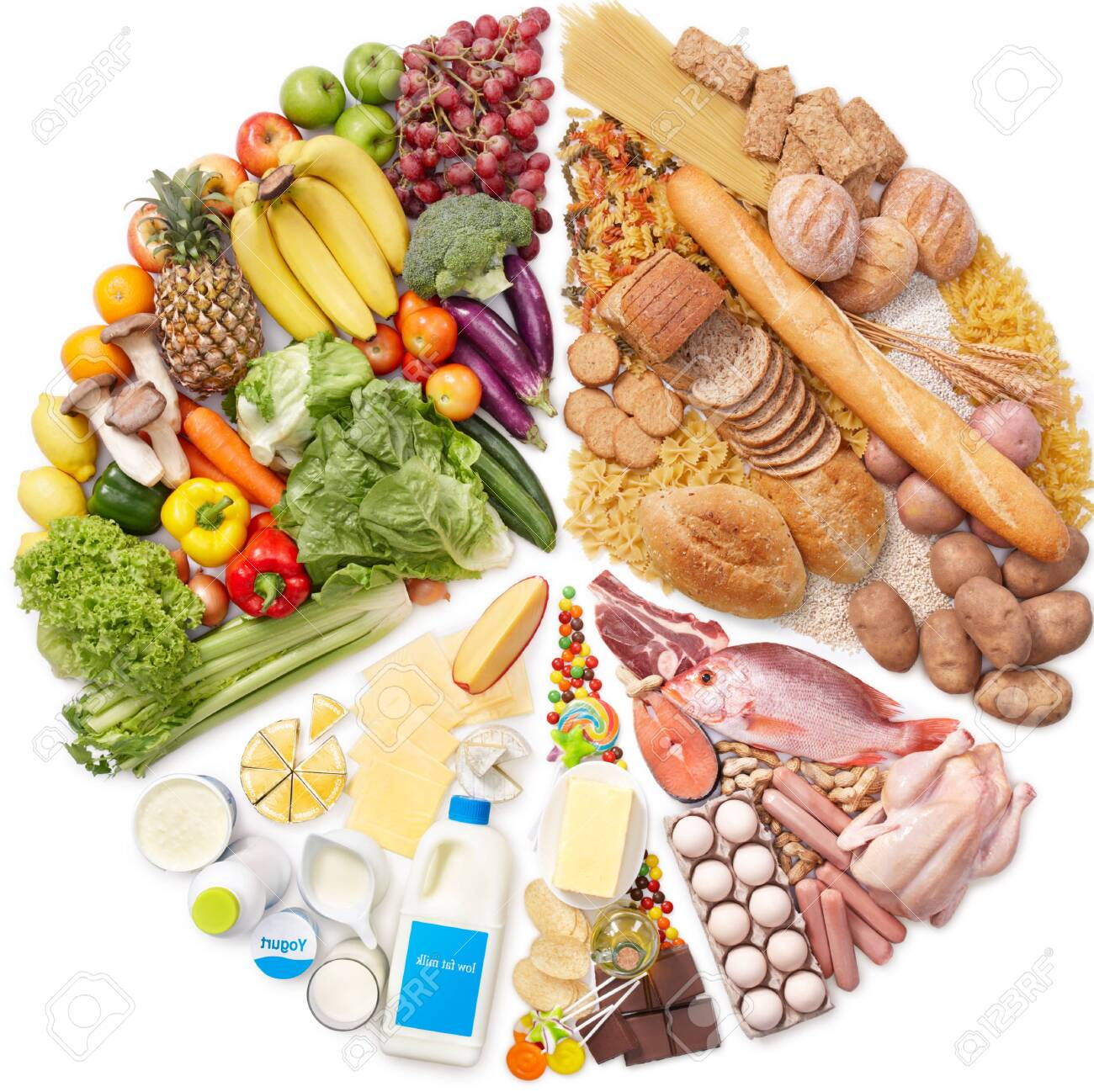 Set Of Food Calories Proper Nutrition Carbohydrates Protein Stock Photo Picture And Royalty Free Image Image 130188038