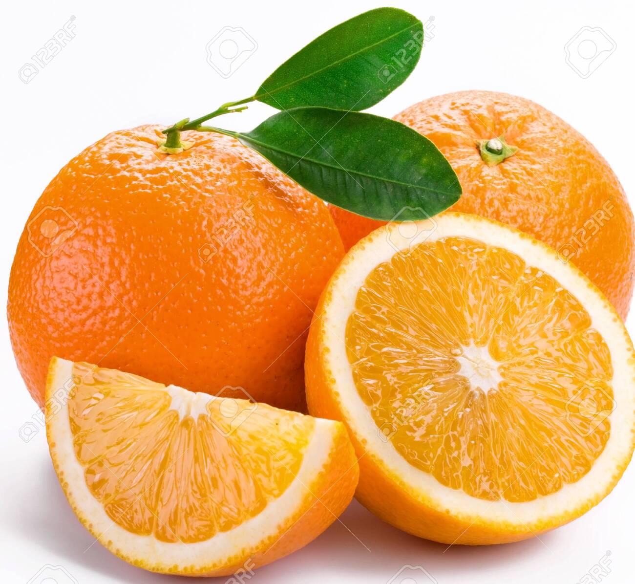 Oranges citrus half slice on a white background . - 130861541