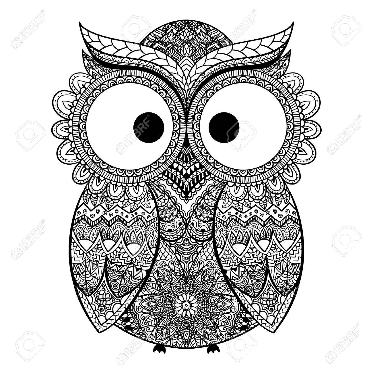 vector illustration of owl bird illustrated in tribal owl whith