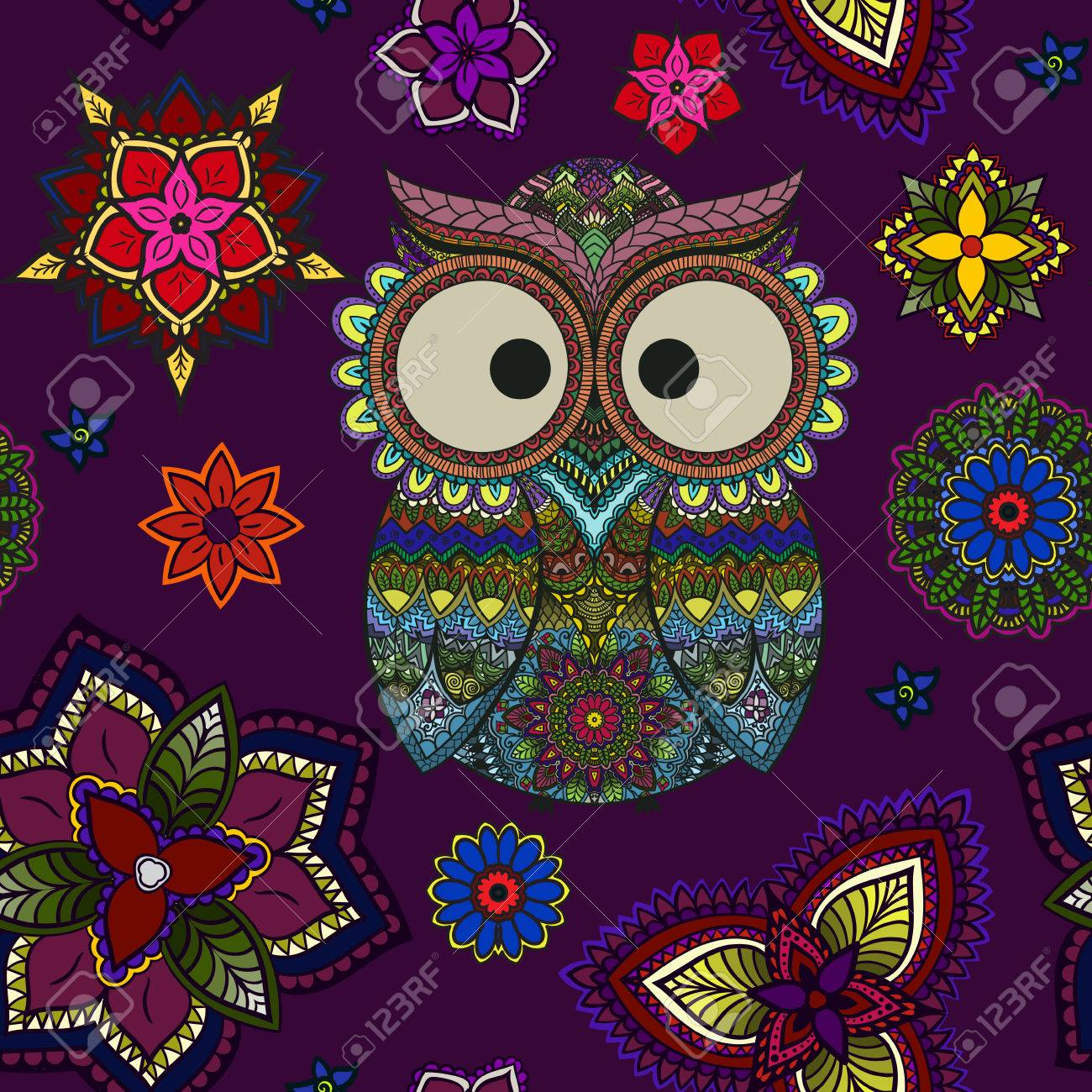 Seamless Pattern From Ornamental Color Owl With Flowers And Mandala