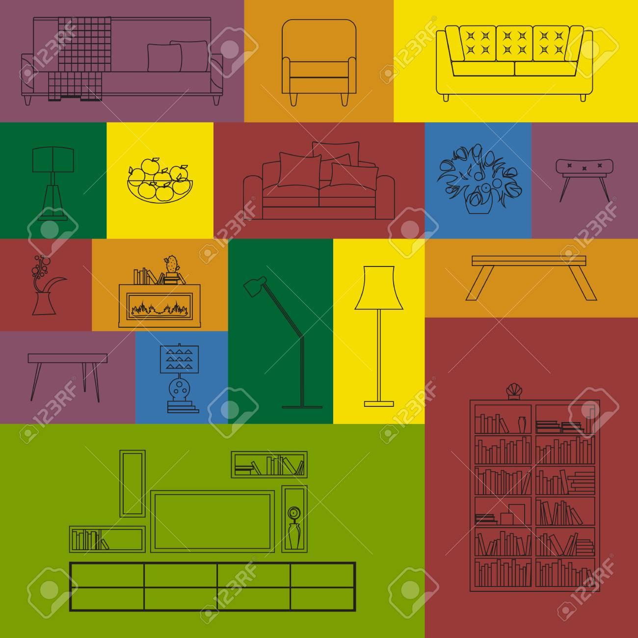 Standard Bild   Vector Sammlung Moderner Umriss Möbel Icon Set. Satz Von  Möbel Design Elemente. Skizzieren Möbel Set. Möbel Set Für Wohnzimmer.