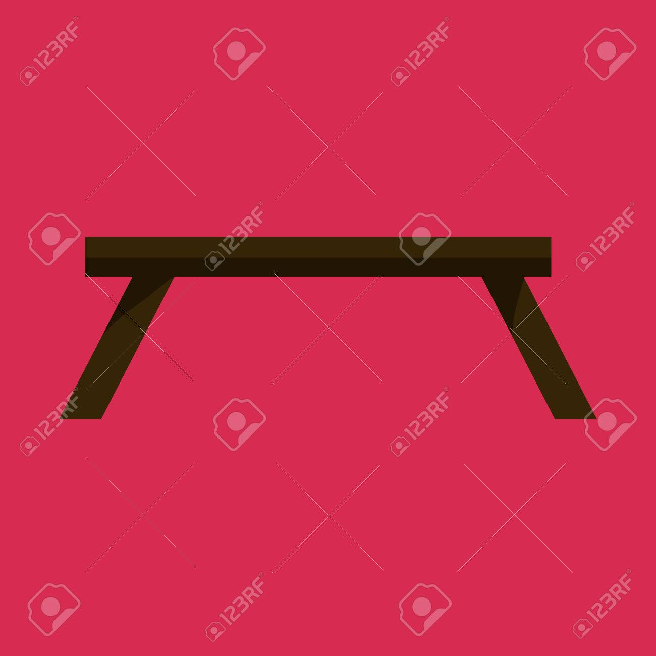 Tableau noir dans le salon icône plat. Table icône sur fond rouge. Le  tableau est élément de conception de salon. table plate décorative.