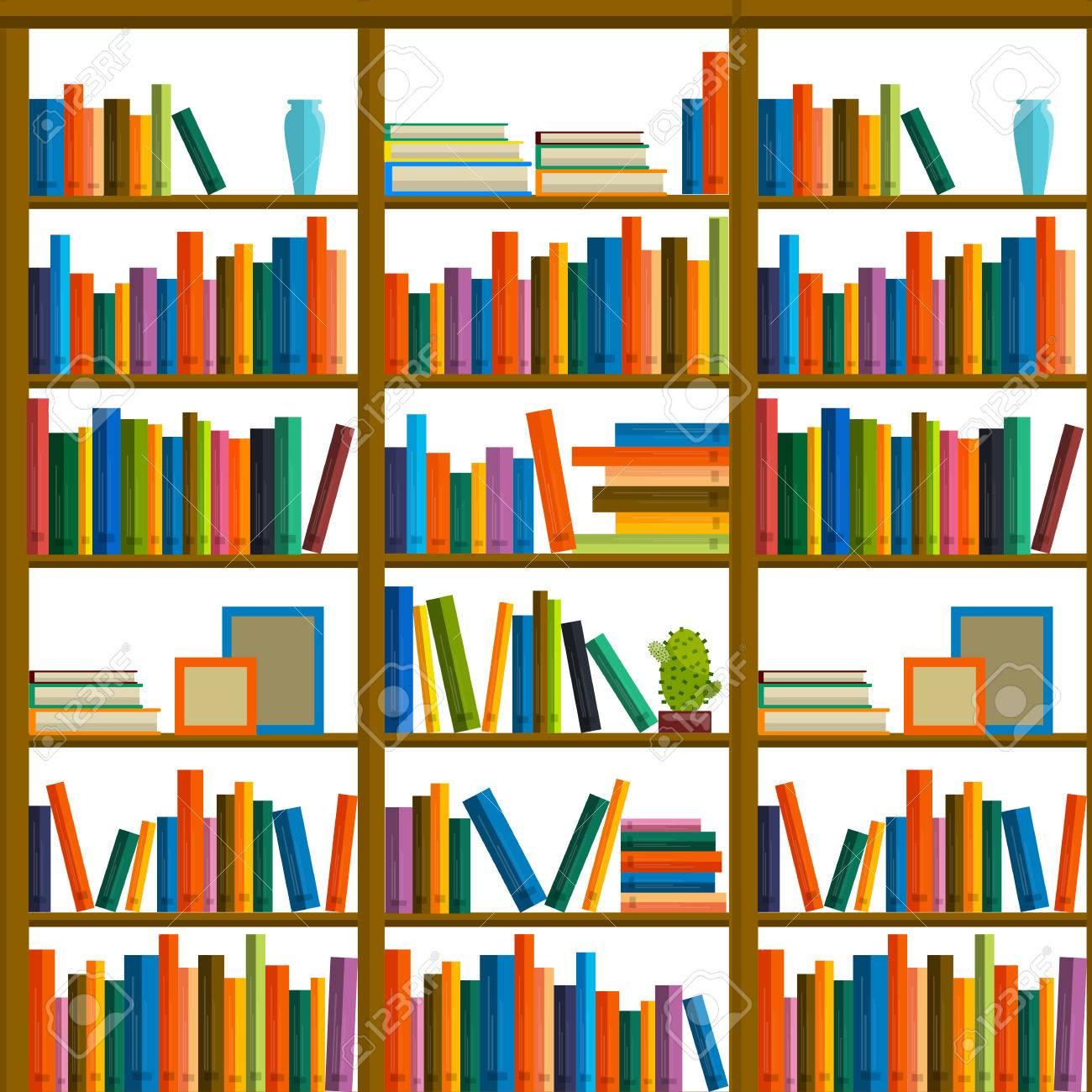 Biblioteca Librera Patrn Sin Fisuras Con Los Libros En Las