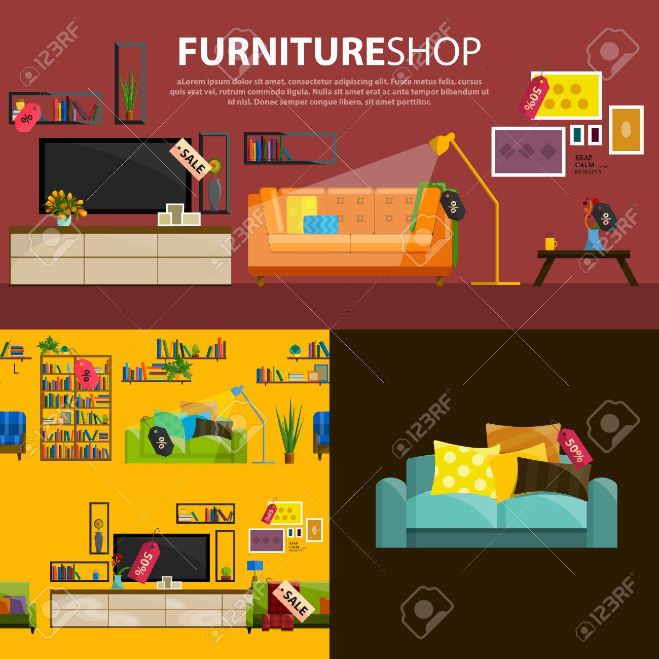 A vector illustration of sale products in a furniture store  Furniture shop  interior  Furniture. A Vector Illustration Of Sale Products In A Furniture Store