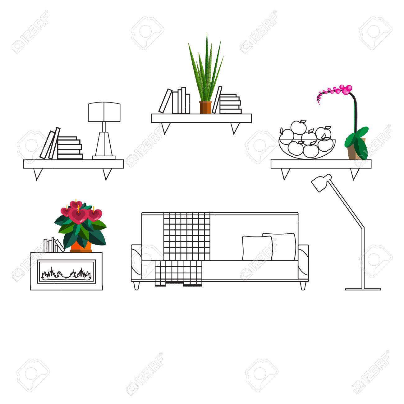 Interior With Flowers Decoration In Hall Of Modern House Homeplant Royalty Free Cliparts Vectors And Stock Illustration Image 54253072