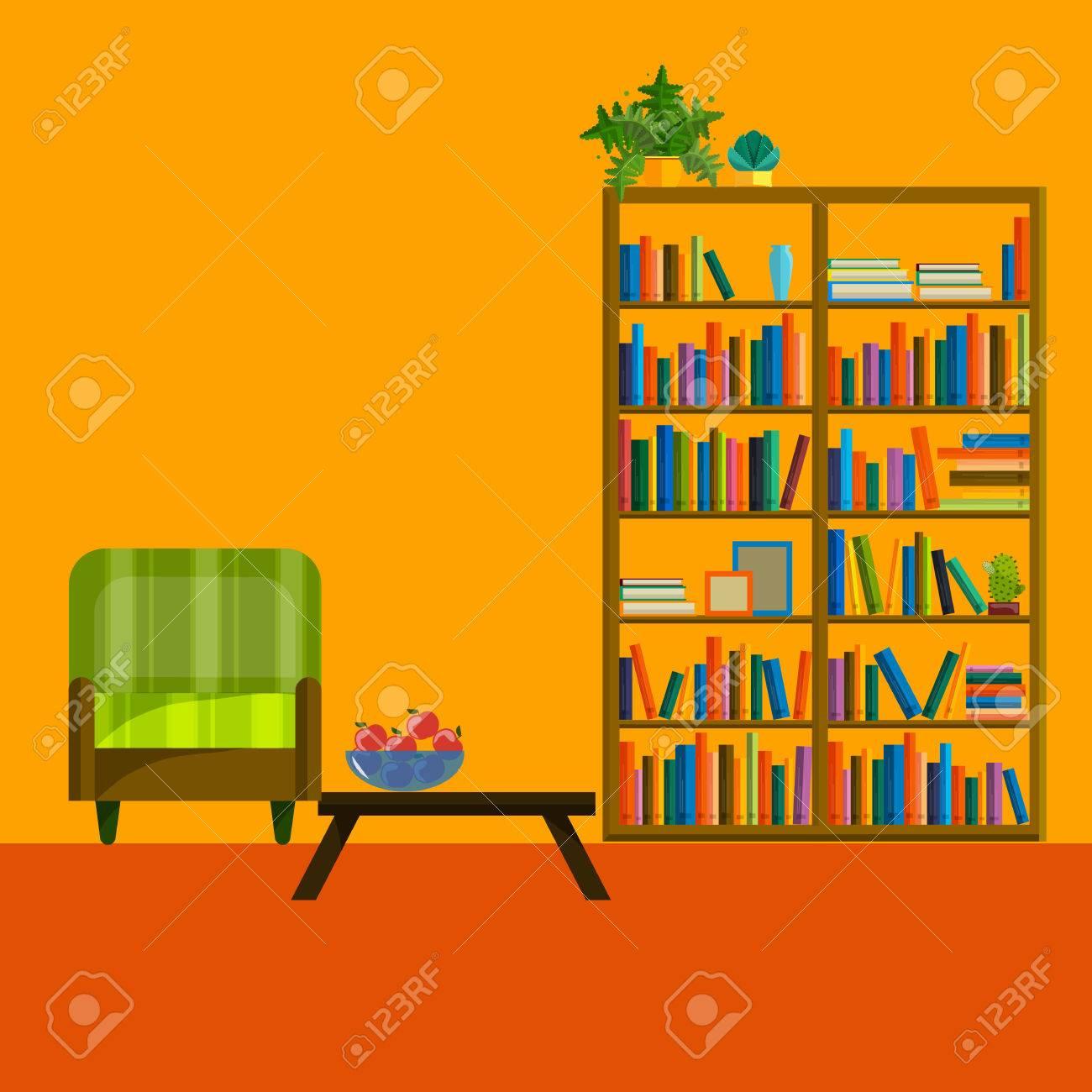 Moderne Flacharchitektur Wohnzimmer Illustration. Wohnzimmerwand. Möbel Für  Wohnzimmer. Wohnzimmer In Flachen Stil. Konzept Für Wohnzimmer.