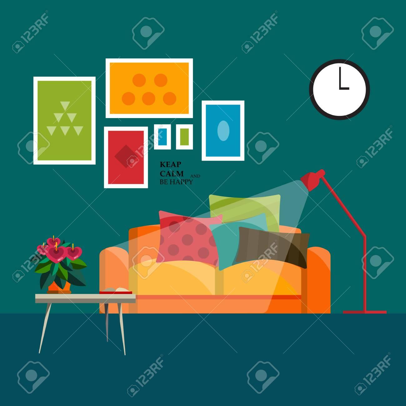 Möbel Für Wohnzimmer. Wohnzimmer In Flachen Stil. Konzept Für Wohnzimmer.  Wohnzimmer Interieur Set.
