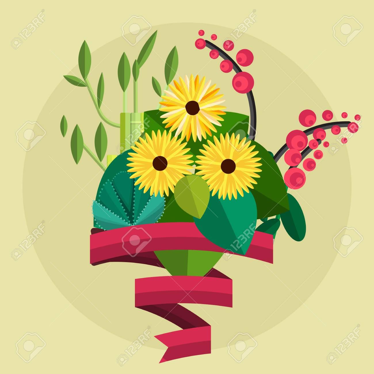 かわいい花束。結婚式の花束の花を誕生日花束花、フラットなデザインのイラスト。イベントの花束を植えます。テキストのリボンと花の花束。