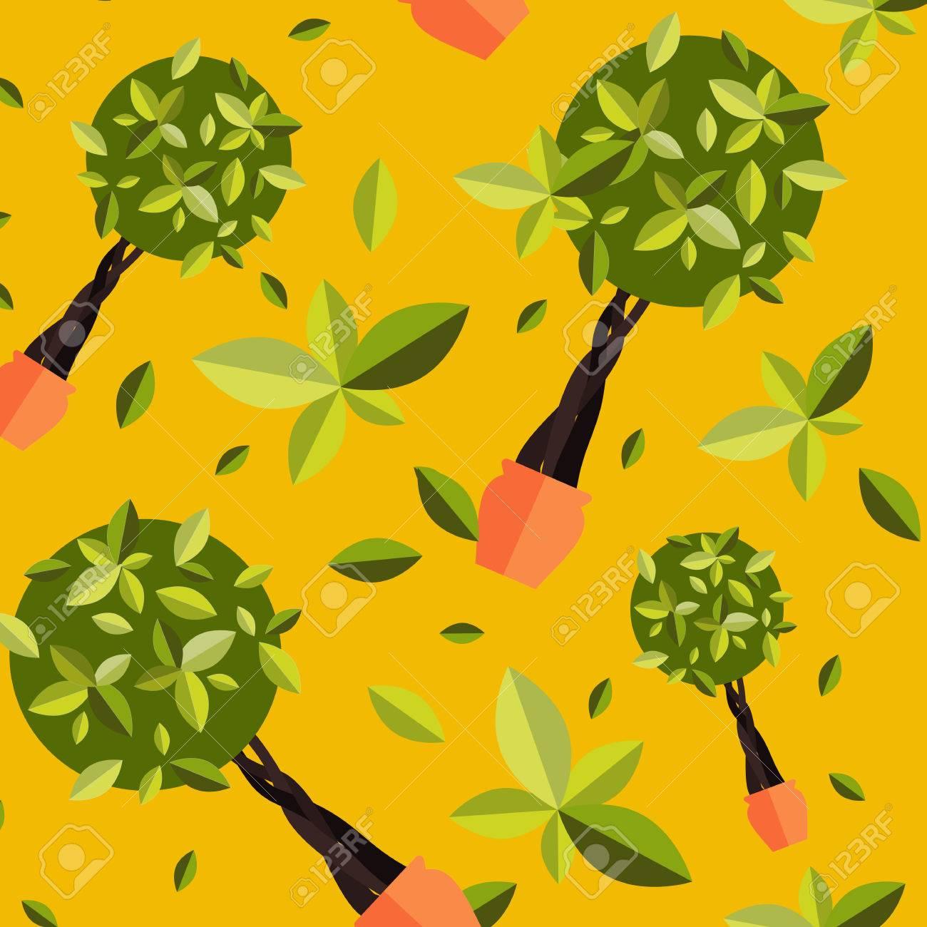 Nahtlose Muster Mit Zimmerpflanzen, Innen Und Büro Blumen Im Topf. Nahtlose  Muster Mit Nach Hause Pflanzen Für Den Garten Oder Zu Hause.