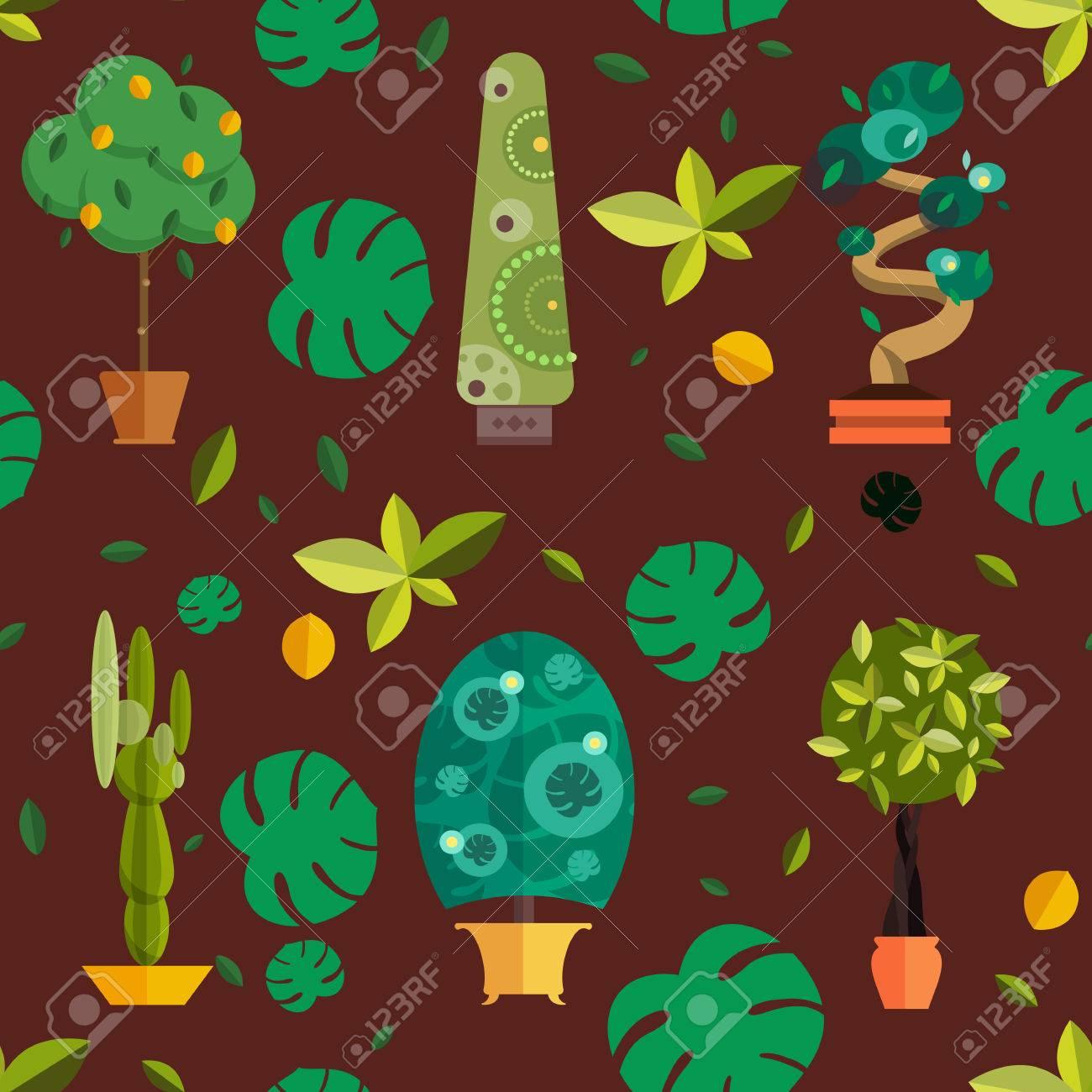 Nahtlose Muster Mit Zimmerpflanzen, Innen-und Büro Blumen Im Topf ...