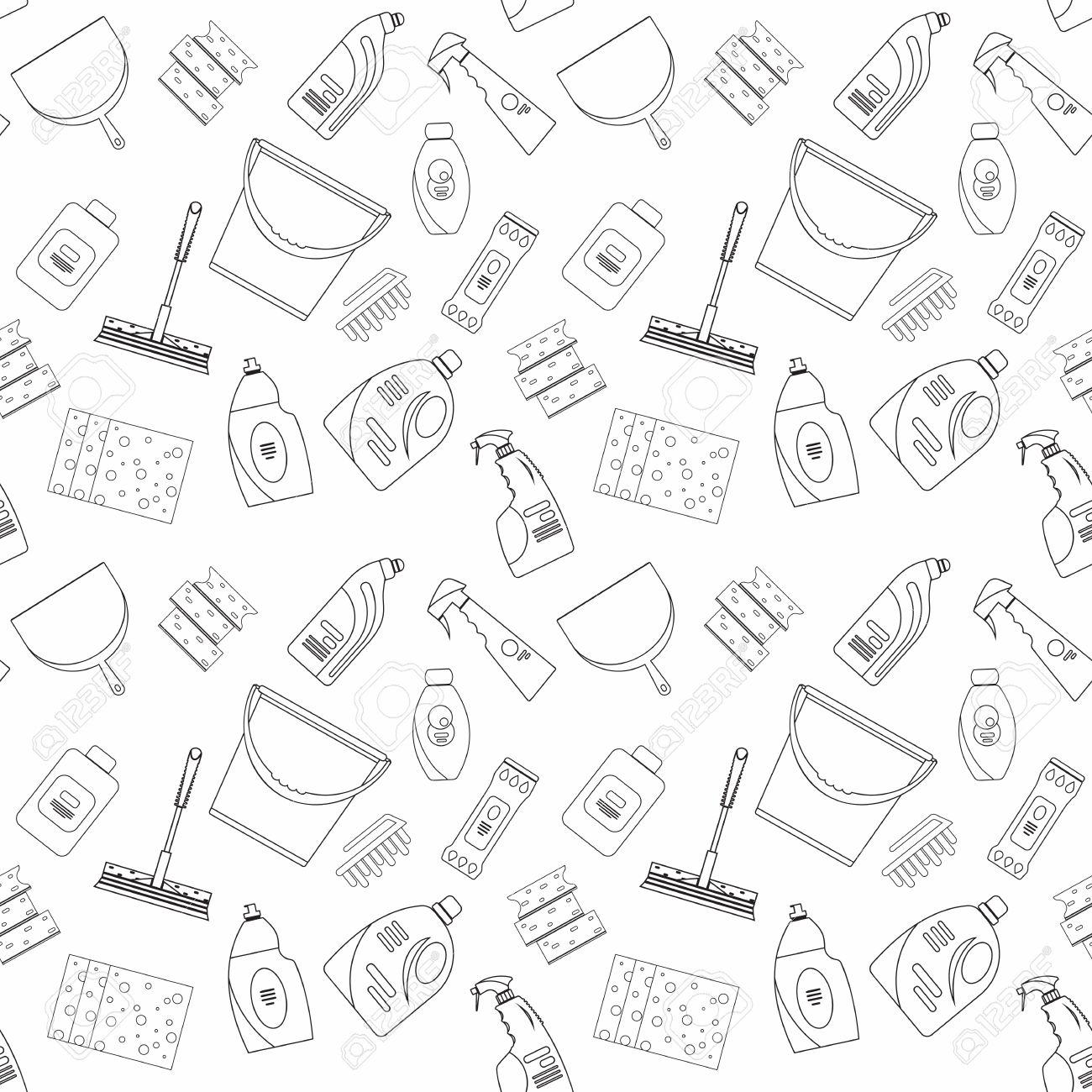 Esquema De Productos De Limpieza Sin Costura Y El Patrón De Los ...
