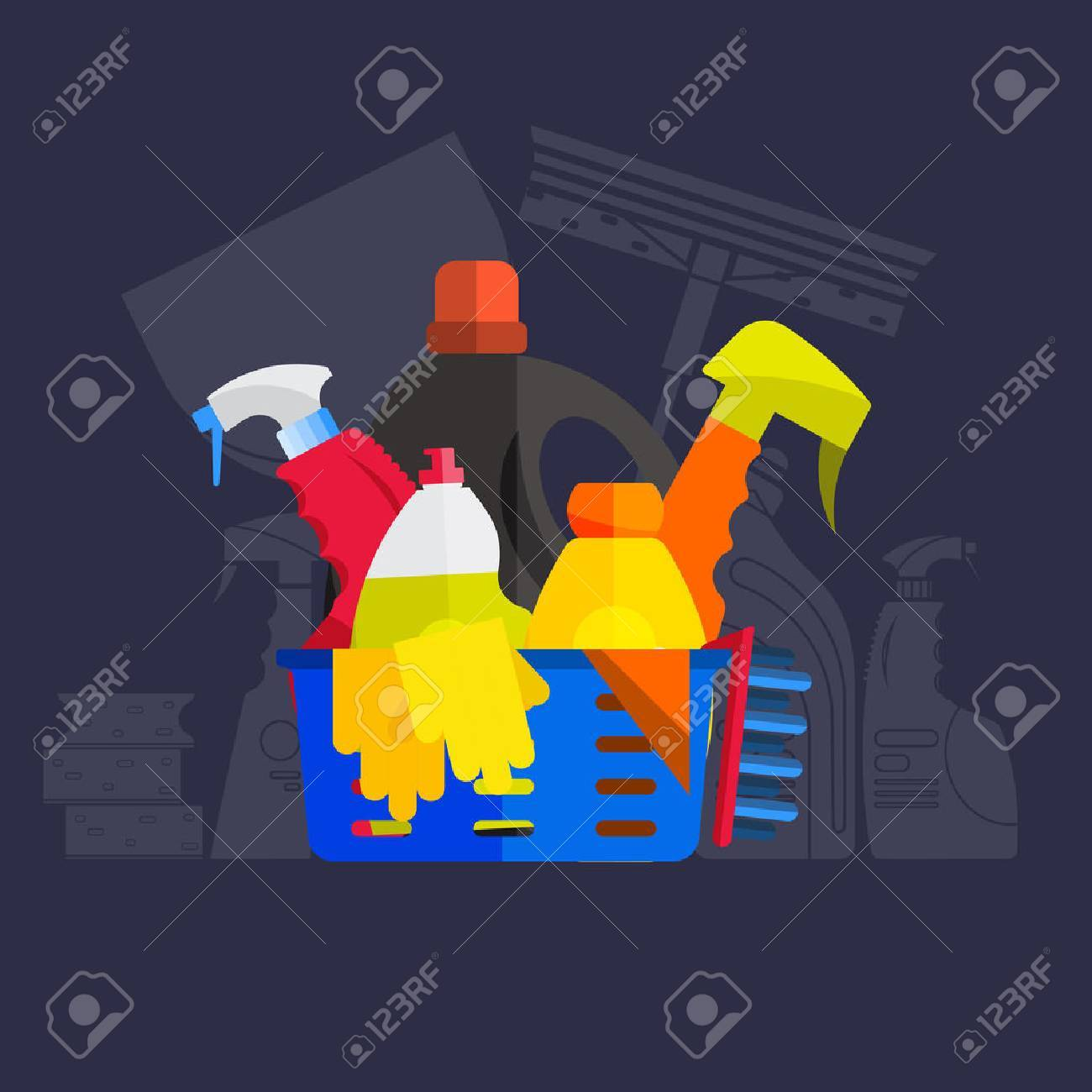 Vector set of cleaning tools. Flat design style. Cleaning supplies isolated. Cleaning bottles, Stuff for cleaning room and house. Cleaning concept. Set of cleaning products. - 55941048