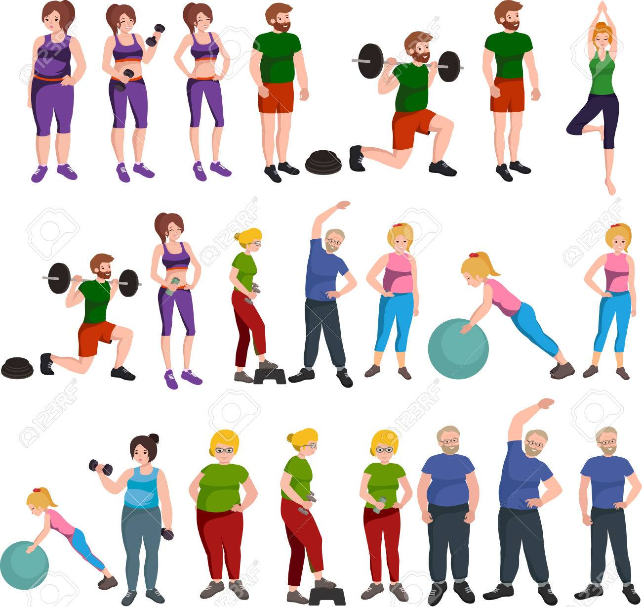 People with different body mass. Weight loss people, before and after weight loss, old and young people doing exercise Healthy fitness and sport family. - 55941058