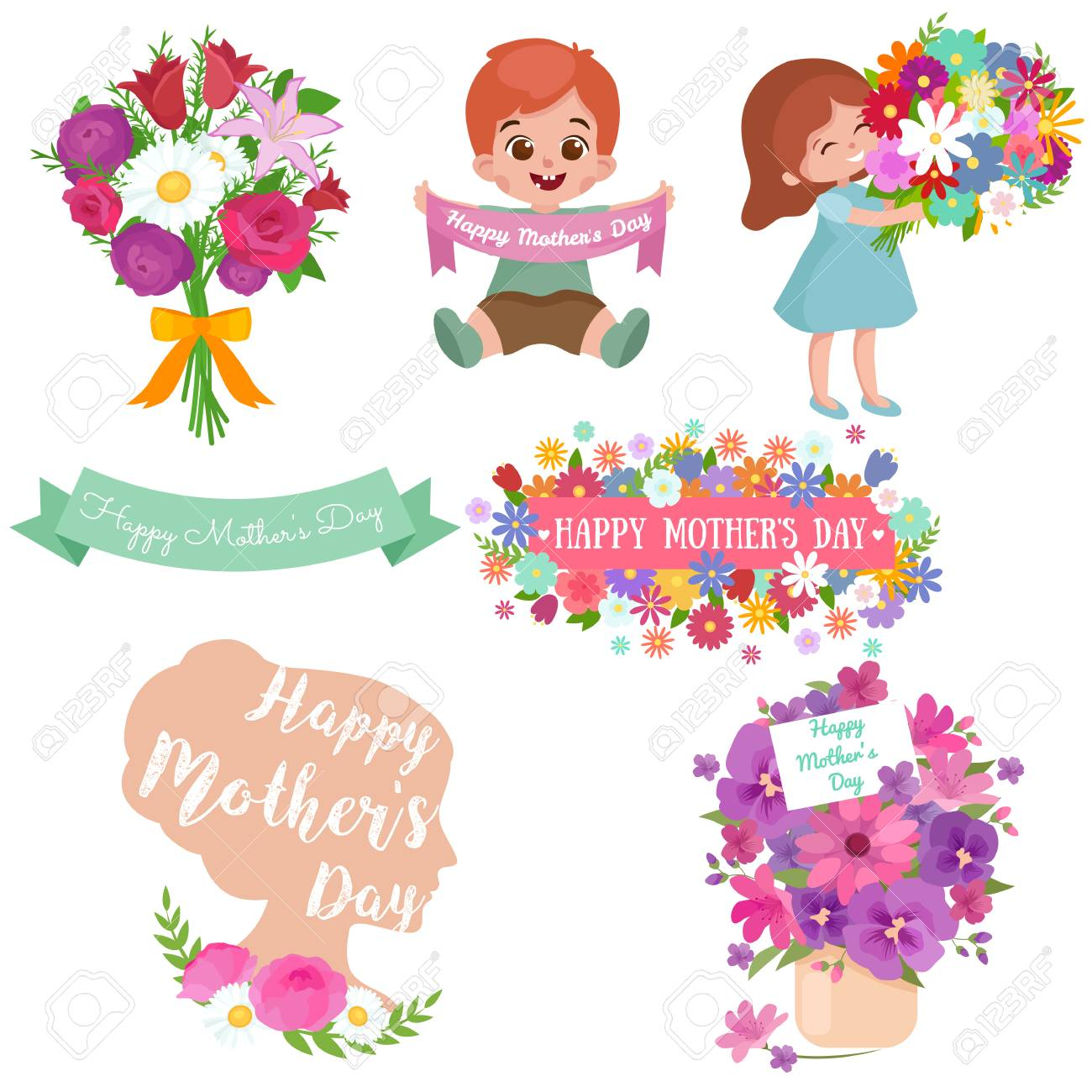 Baby girl and boy with bouquet of flowers Happy Mothers Day - 56203922