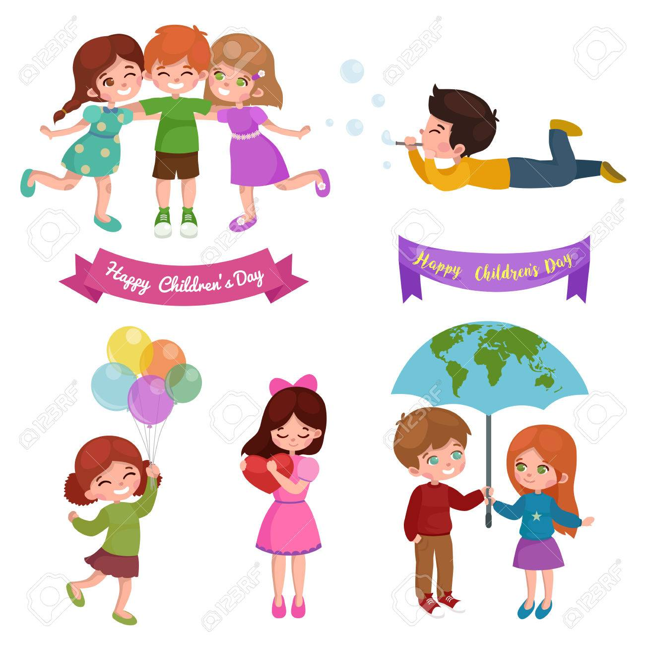 Vector illustration kids playing greeting card happy childrens vector vector illustration kids playing greeting card happy childrens day happy kids background m4hsunfo