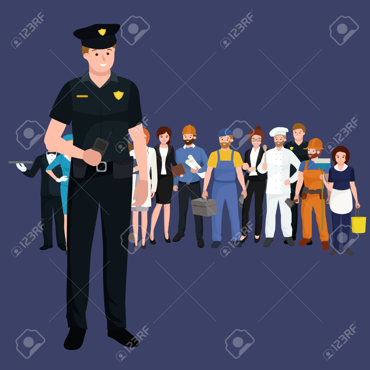 Serve and protect. Police man, officer male, vector illustration workers team - 56392027