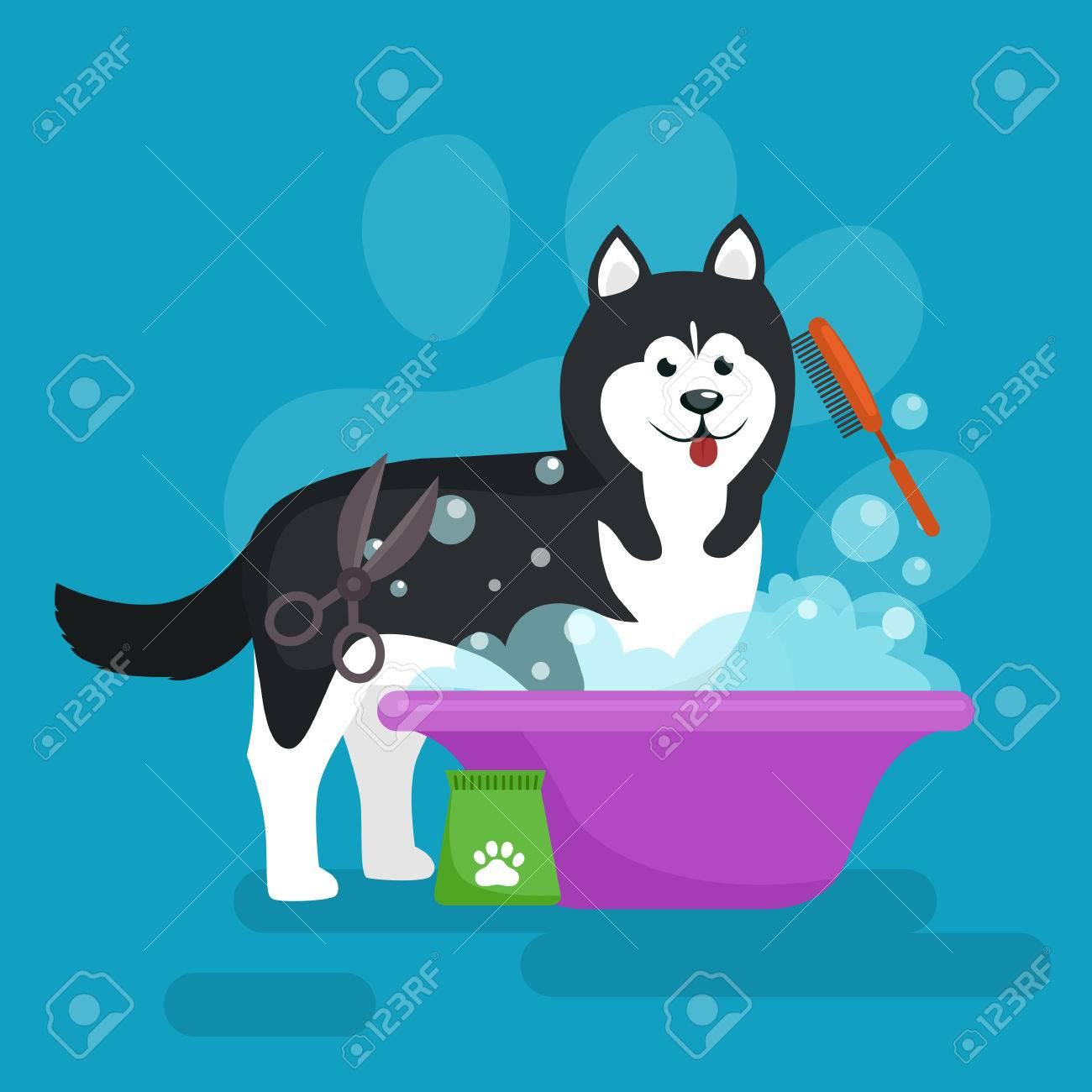 Dog hair hygiene. Vector Illustration Set, Pet Grooming and care, haircut - 56631970