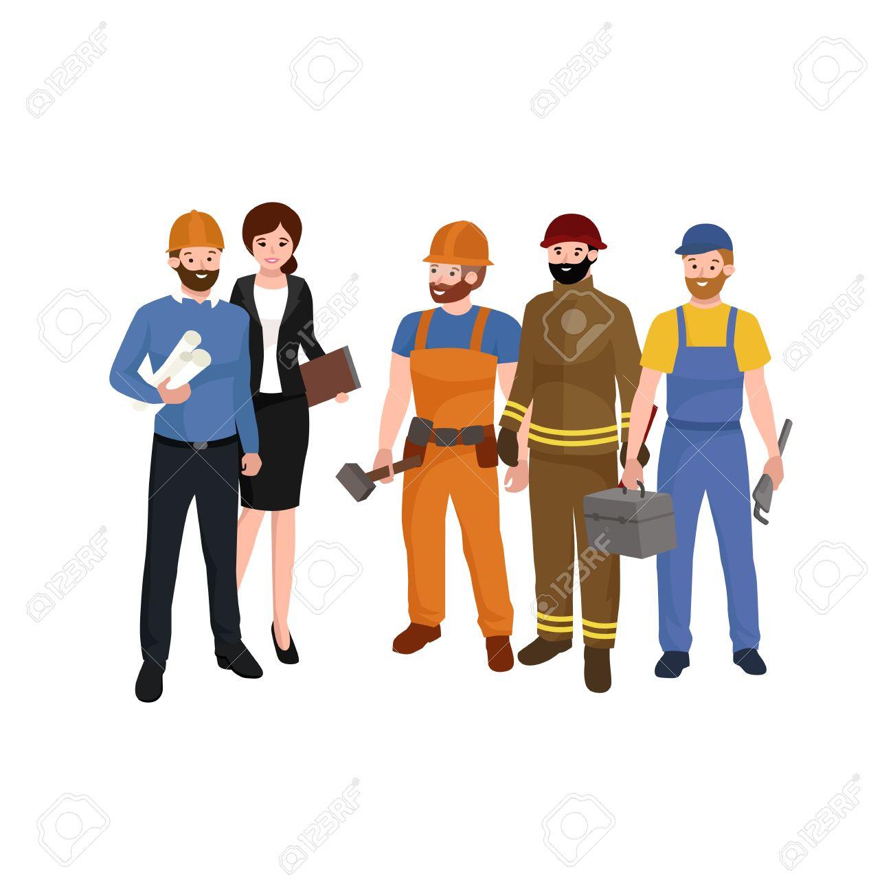 Ingeniero Civil, Arquitecto Y La Construcción Grupo De Personajes ...