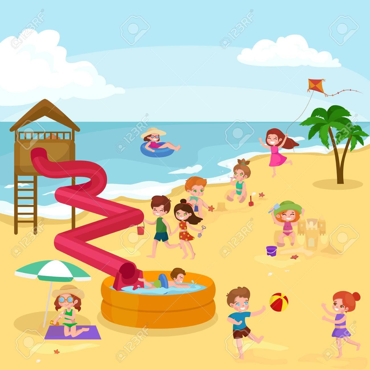 Children Summer Vacation Kids Playing Sand Around Water On Beach Cute Little Girl In