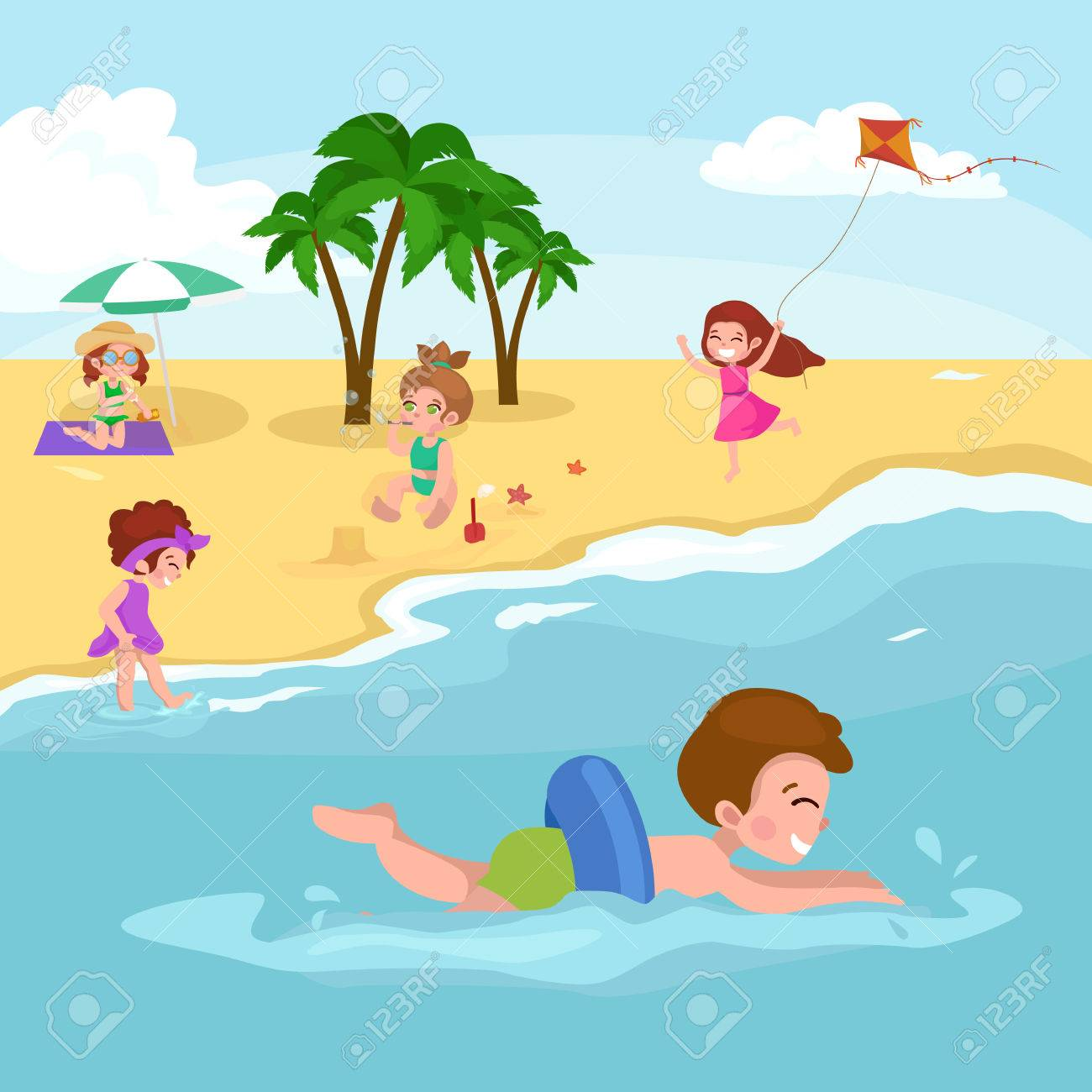 Summer children. Children playing in the sand on the beach vector illustration - 57030363